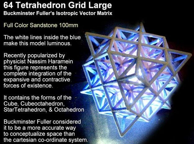 64 Tetrahedron Grid 10cm Isotropic Vector Matrix in Full Color Sandstone