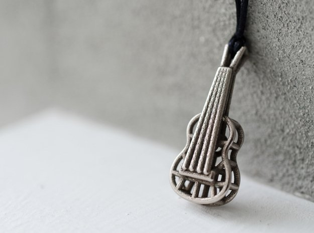 Guitar steel pendant in Polished Bronzed Silver Steel