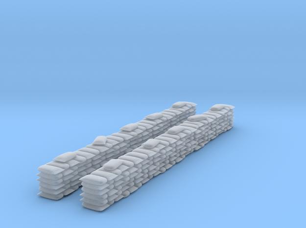 2 Sandbag Walls for 6mm, 1/300 or 1/285 in Smooth Fine Detail Plastic