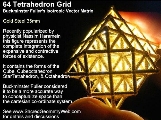 64 Tetrahedron Grid 30mm in White Natural Versatile Plastic