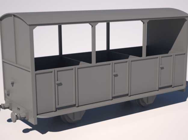 009 Talyllyn Semi-open Carriage No 8-12 in Smooth Fine Detail Plastic