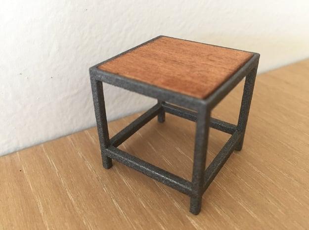 Lounge Table square, 1:12 in White Processed Versatile Plastic