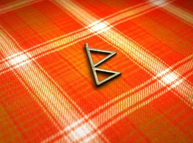 Berkana Rune in Polished Bronzed Silver Steel