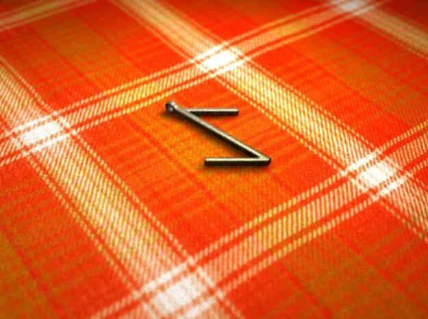 Eihwaz Rune in Polished Bronzed Silver Steel