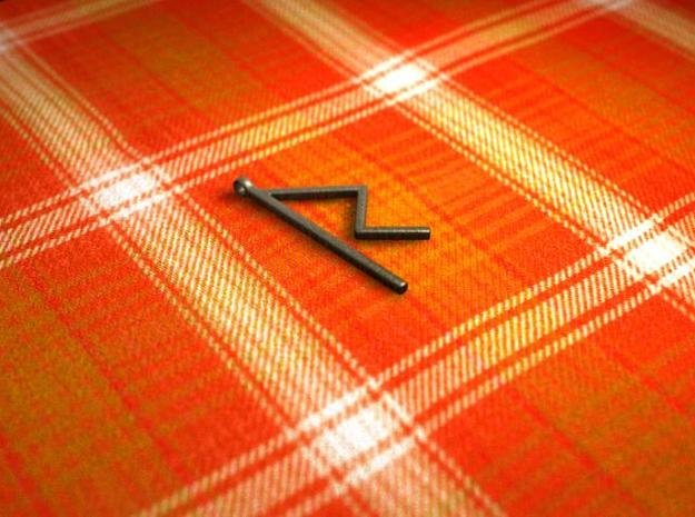 Raido Rune in Polished Bronzed Silver Steel