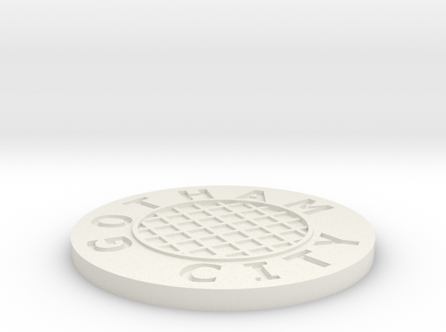 Sewer lid in White Natural Versatile Plastic