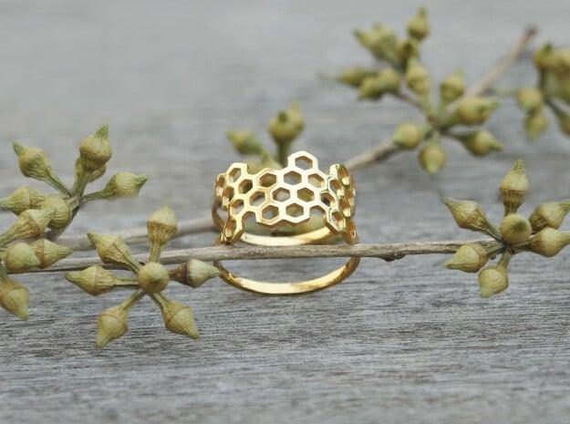 Honeycomb Ring in 18k Gold Plated Brass: Medium