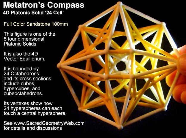 Sacred Geometry: Metatron's Compass 100mm - 4D Vec in Full Color Sandstone