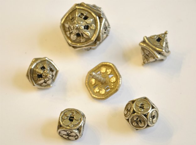 Pizza Dice Set - Balanced in Polished Bronzed Silver Steel
