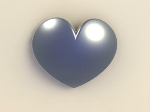 Rounded Heart Pendant in White Natural Versatile Plastic