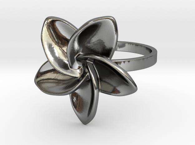 Frangipani Plumeria Ring - 18 mm in Fine Detail Polished Silver