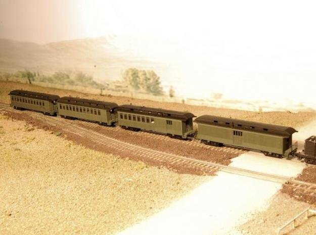 Nn3 4 car Passenger Train, w/ combine in Smooth Fine Detail Plastic