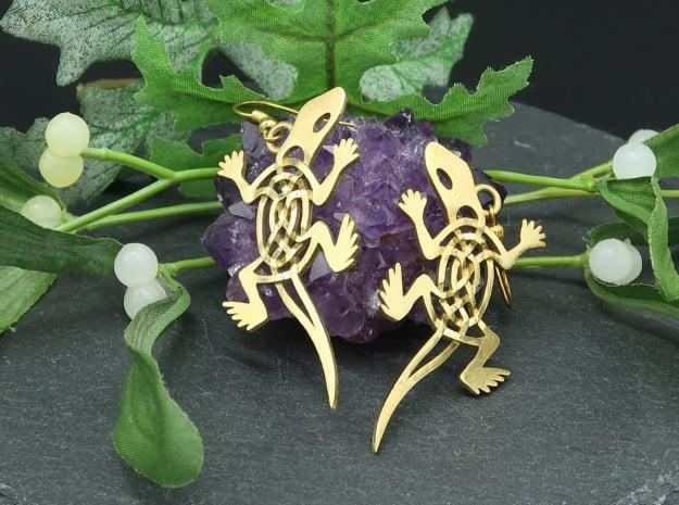 Celtic Lizard Earrings in Natural Brass