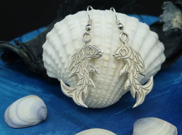 Shard Fish Earrings in Polished Silver: Medium
