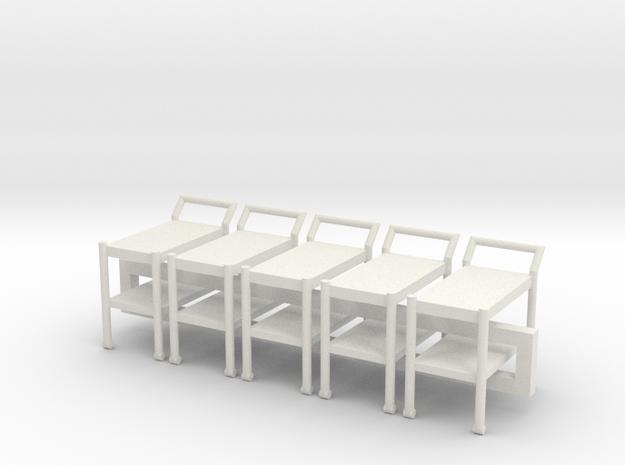 5 1:48 Tea Cart in White Natural Versatile Plastic