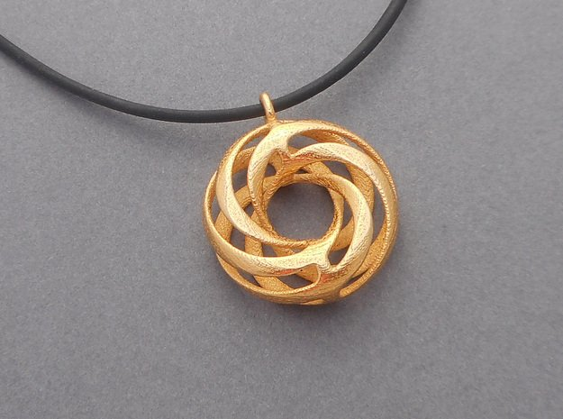Twisted Torus Pendant in Steel in Polished Gold Steel