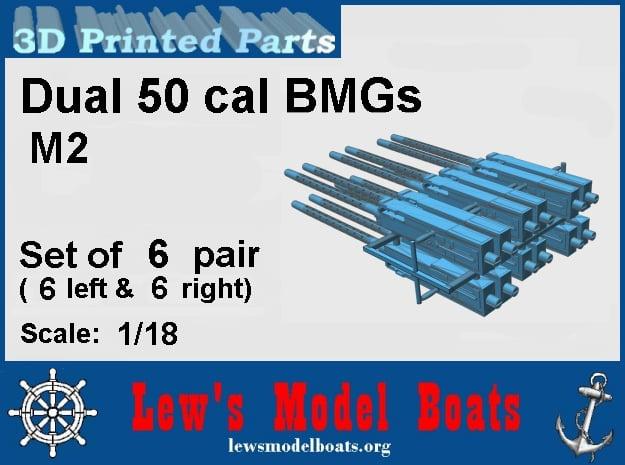 Dual 50 cal. BMGs (6 pair) in Smooth Fine Detail Plastic: 1:18