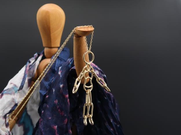 Ragdoll Pendant (5 parts) in Polished Brass (Interlocking Parts)