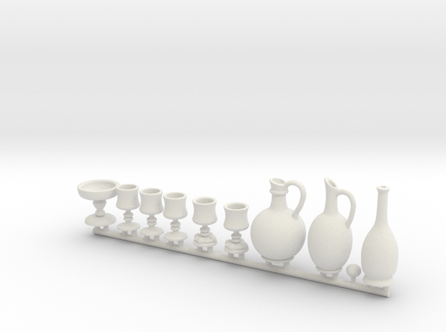 Drinkware for 1:12 scale settings. Set A