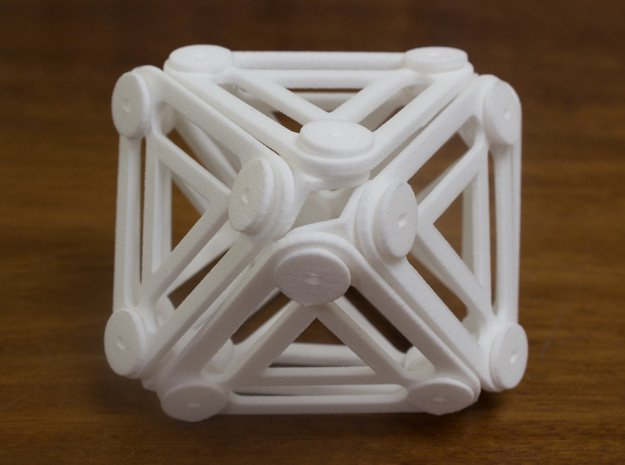 Jointed Jitterbug a.k.a Cuboctahedron a.k.a Vector in White Natural Versatile Plastic
