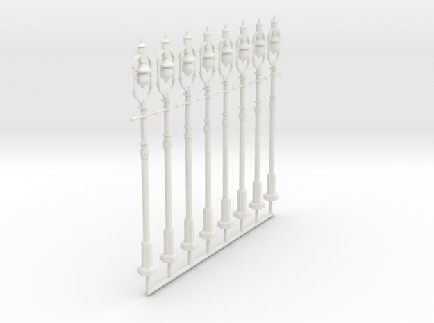 8 Carbon Arc Streetlights in White Natural Versatile Plastic