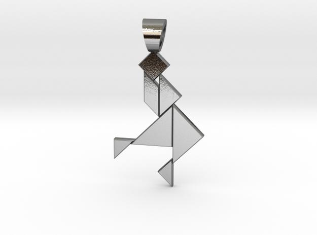 Dancer tangram [pendant] in Polished Silver