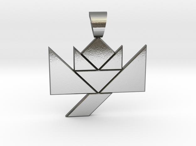 Flower tangram [pendant] in Polished Silver