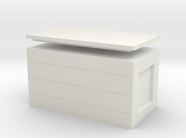 Wooden Crate with Removable Lid, 1:8 scale in White Natural Versatile Plastic