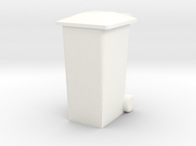 OO Gauge 240 Ltr Wheelie Bin in White Processed Versatile Plastic