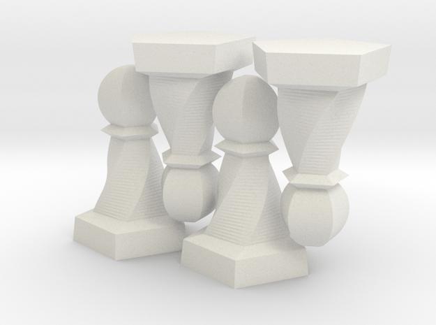 Geometric Chess Set Pawn in White Premium Versatile Plastic