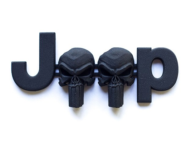 #CuzitsCustom 3D Punisher Skulls OEM Font in Black Natural Versatile Plastic: Small