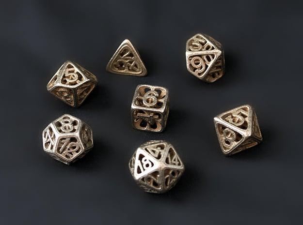 Hedron Dice Set in Polished Bronzed Silver Steel: Polyhedral Set