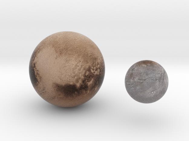 Pluto & Charon 1:150 million in Natural Full Color Sandstone
