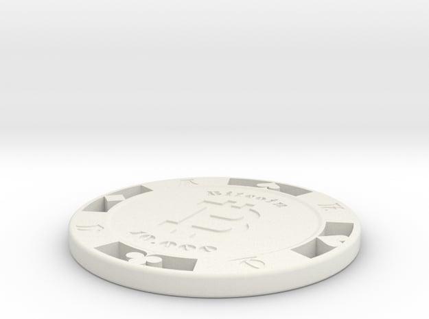 Bitcoin Poker Chip 10k in White Natural Versatile Plastic