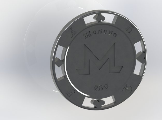 Monero Poker Chip 250 in White Natural Versatile Plastic