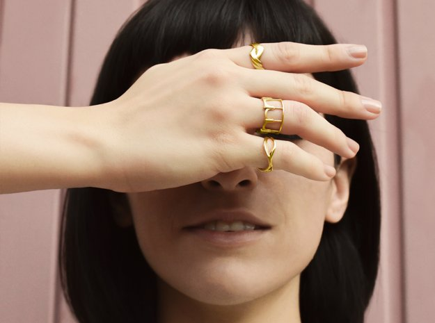 Moorish Ring in 14k Gold Plated Brass: 6.5 / 52.75