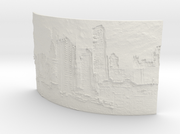 Apocalyptic City Curved Lithophane in White Natural Versatile Plastic