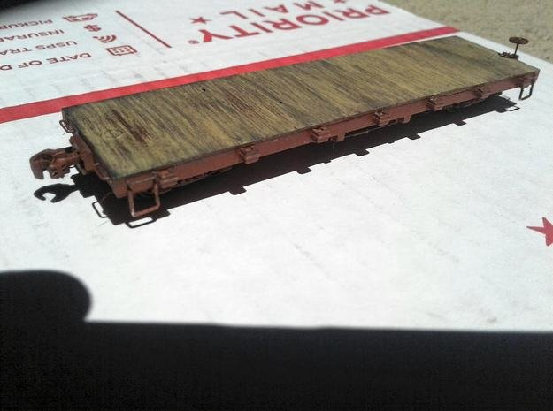 HOn3 flat car with details in Smooth Fine Detail Plastic