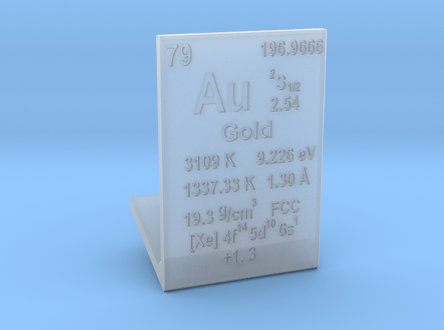 Gold Element Stand in Smooth Fine Detail Plastic
