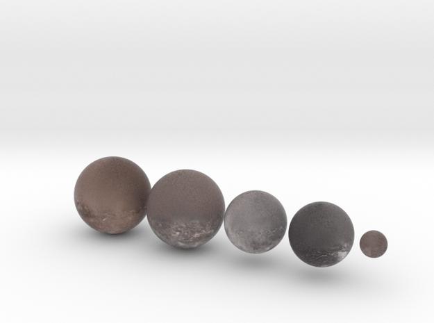 5 Moons of Uranus set 1:100 million in Natural Full Color Sandstone