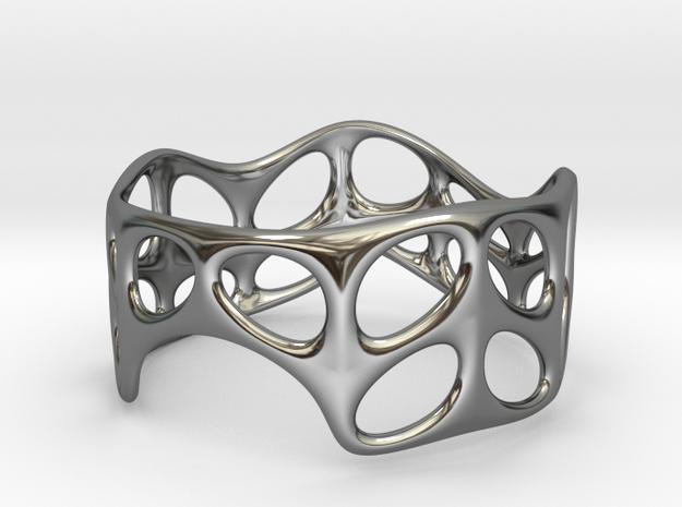 Voronoi Wire Bracelet (001b) in Fine Detail Polished Silver