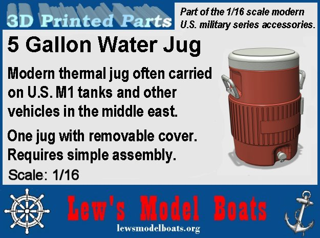20 liter / 5 gallon water jug (1/16 scale) in White Natural Versatile Plastic: 1:16