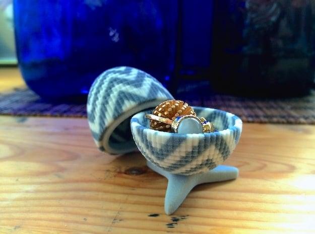 Egg Jewelry Box: Chevron in Full Color Sandstone