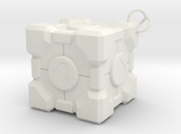 Weighted Companion Cube Keychain in White Natural Versatile Plastic