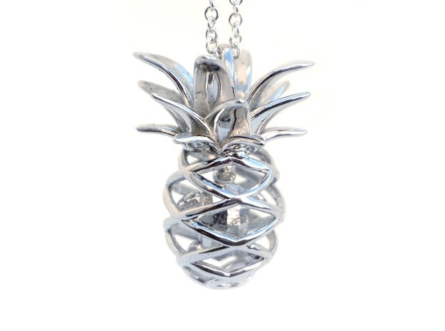 Pineapple Turtle Pendant in Rhodium Plated Brass