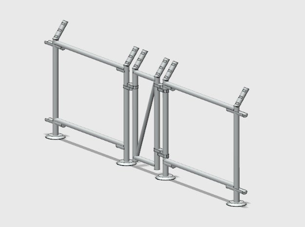 10' Fence Frame - Man Gate-L/Latch in White Natural Versatile Plastic: 1:87 - HO