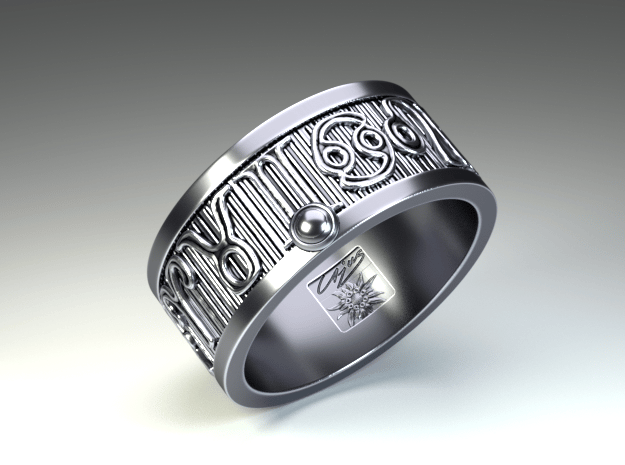 Zodiac Sign Ring Leo / 20mm in Antique Silver