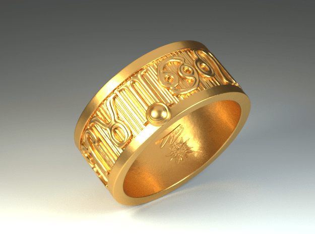 Zodiac Sign Ring Libra / 20mm in Polished Brass