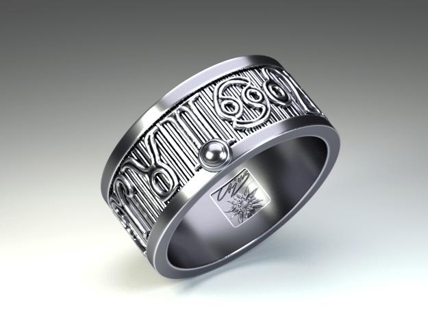 Zodiac Sign Ring Scorpio / 20mm in Antique Silver
