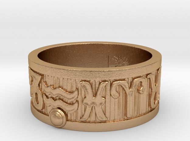 Zodiac Sign Ring Aquarius / 20.5mm in Natural Bronze